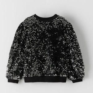 ZARA Kids Sequin and Velvet Sweatshirt